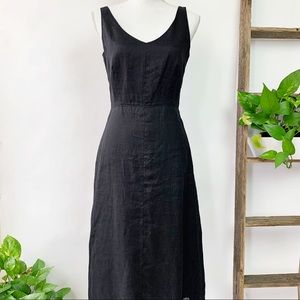 J. Crew | New Black V Neck Linen Midi Dress Size 4